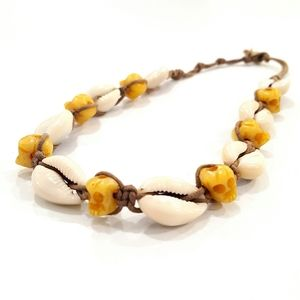 Jewelry - Cowrie Shell Carved Bone Skulls Choker Necklace